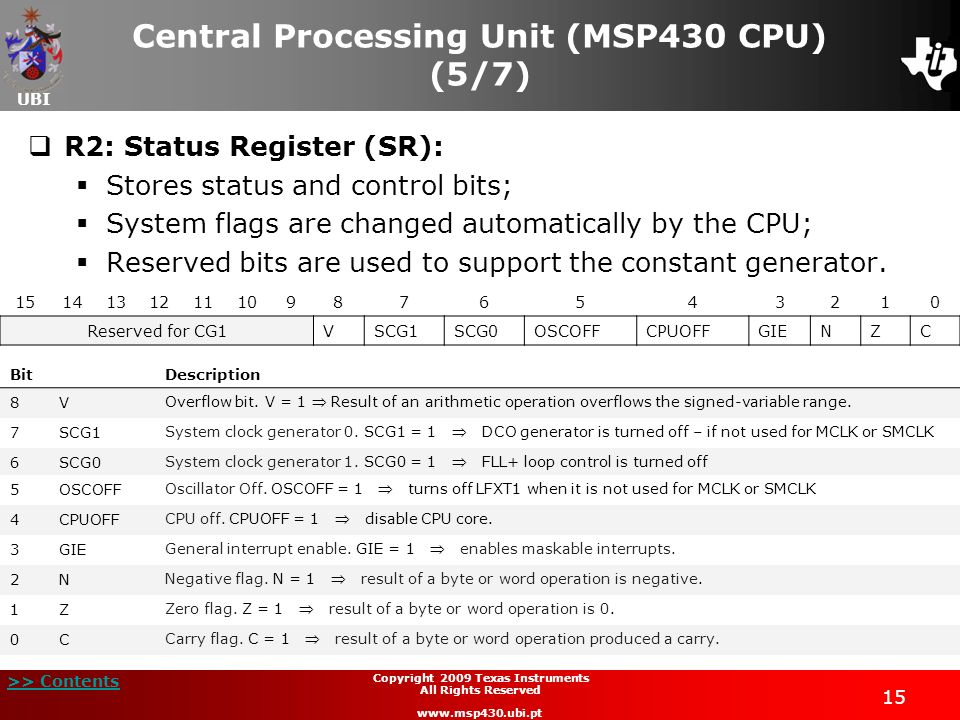 UBI >> Contents 15 Copyright 2009 Texas Instruments All Rights Reserved www.msp430.ubi.pt Central Processing Unit (MSP430 CPU) (5/7) R2: Status Regist