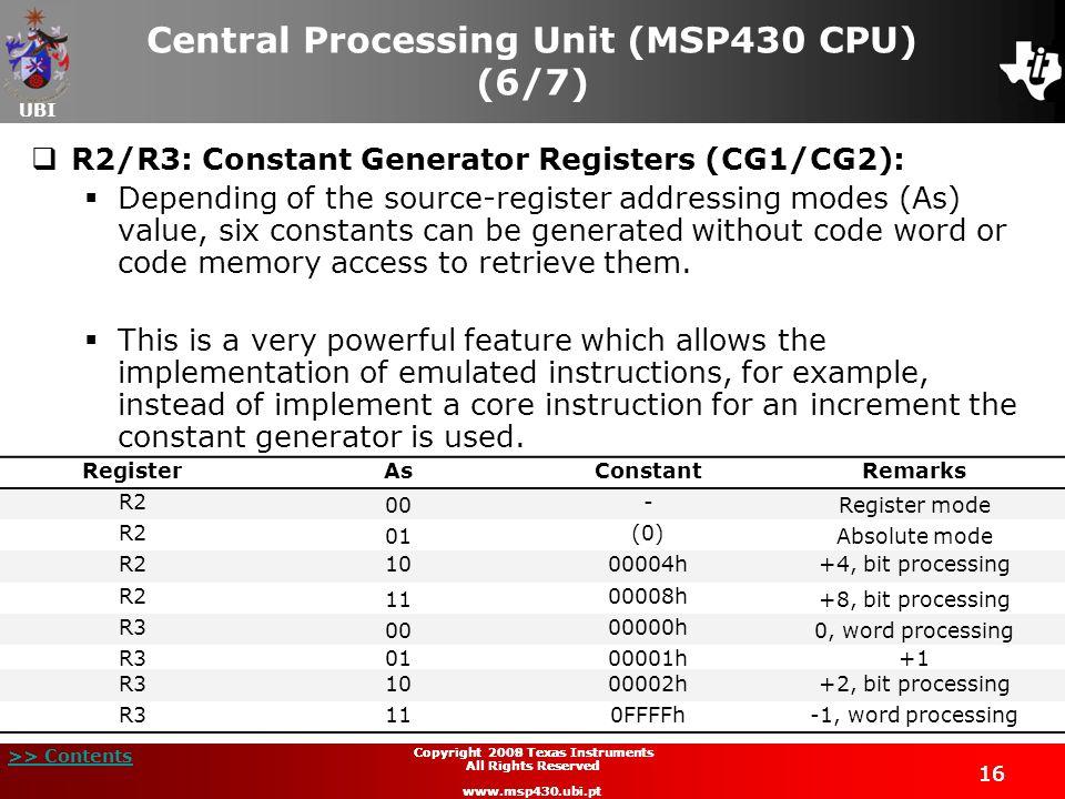 UBI >> Contents 16 Copyright 2009 Texas Instruments All Rights Reserved www.msp430.ubi.pt 16 Copyright 2008 Texas Instruments All Rights Reserved www.