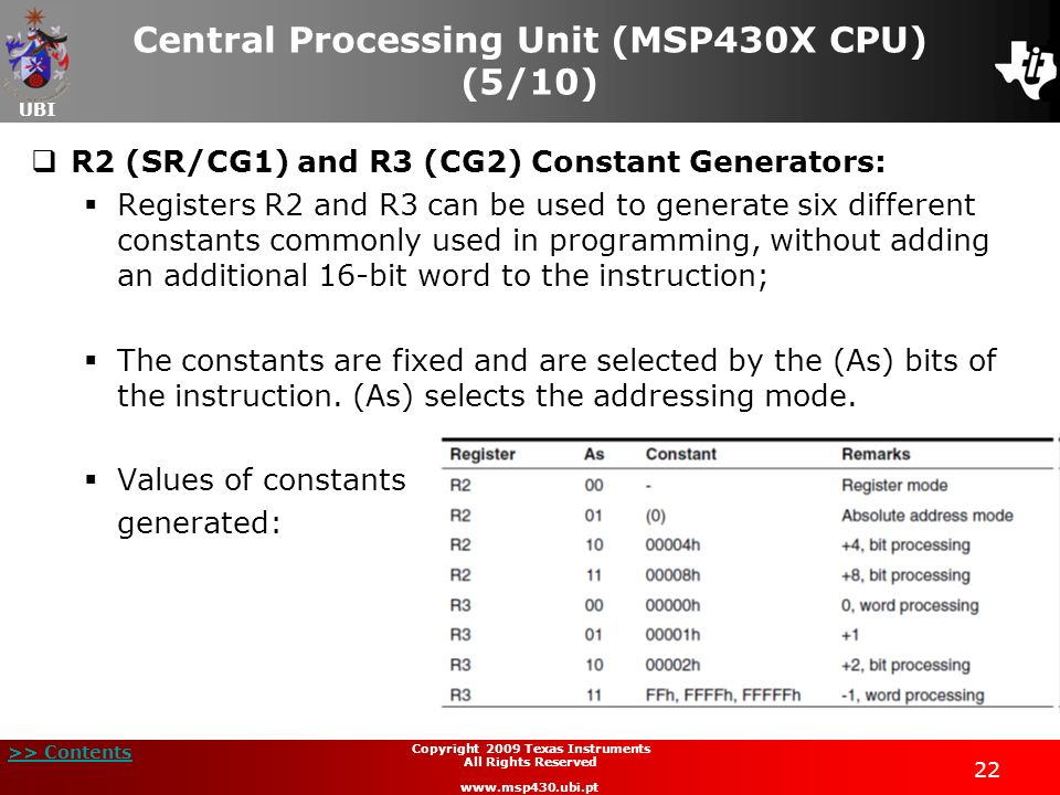 UBI >> Contents 22 Copyright 2009 Texas Instruments All Rights Reserved www.msp430.ubi.pt Central Processing Unit (MSP430X CPU) (5/10) R2 (SR/CG1) and
