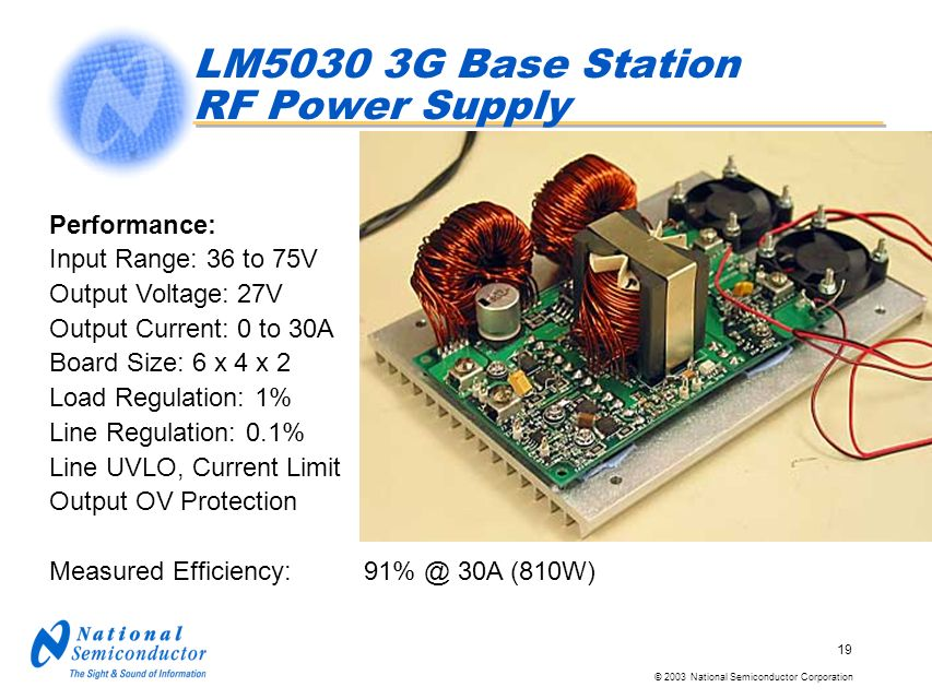 © 2003 National Semiconductor Corporation 19 Performance: Input Range: 36 to 75V Output Voltage: 27V Output Current: 0 to 30A Board Size: 6 x 4 x 2 Lo