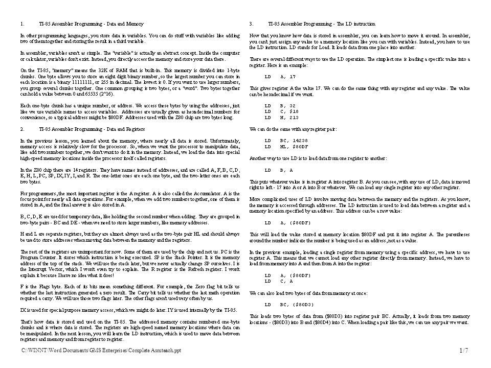 C:\WINNT\Word Documents\GMS Enterprises\Complete Asmteach.ppt 1/7