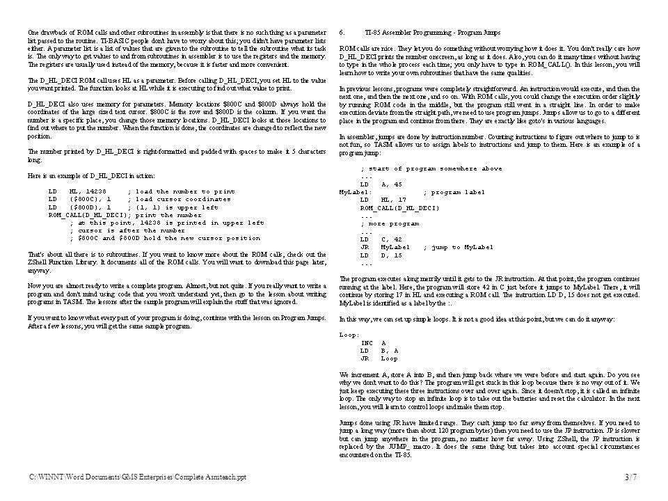 C:\WINNT\Word Documents\GMS Enterprises\Complete Asmteach.ppt 3/7