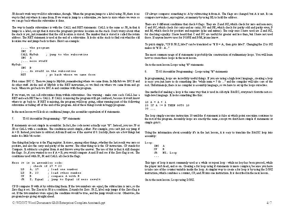 C:\WINNT\Word Documents\GMS Enterprises\Complete Asmteach.ppt 4/7