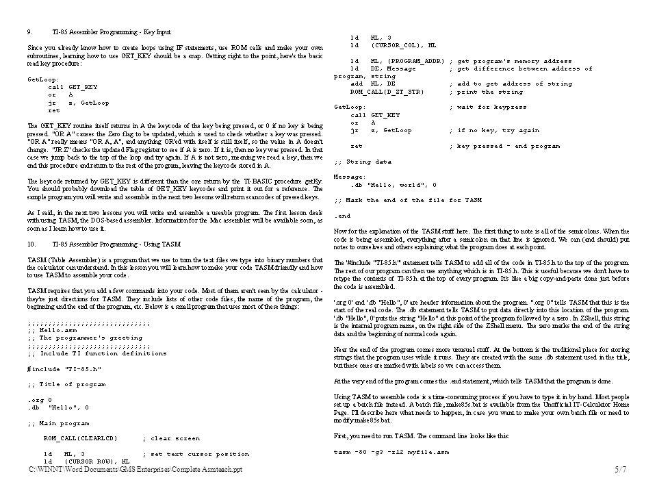 C:\WINNT\Word Documents\GMS Enterprises\Complete Asmteach.ppt 5/7
