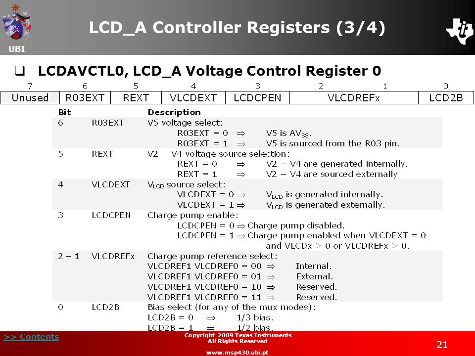 UBI >> Contents 21 Copyright 2009 Texas Instruments All Rights Reserved www.msp430.ubi.pt LCD_A Controller Registers (3/4) LCDAVCTL0, LCD_A Voltage Co