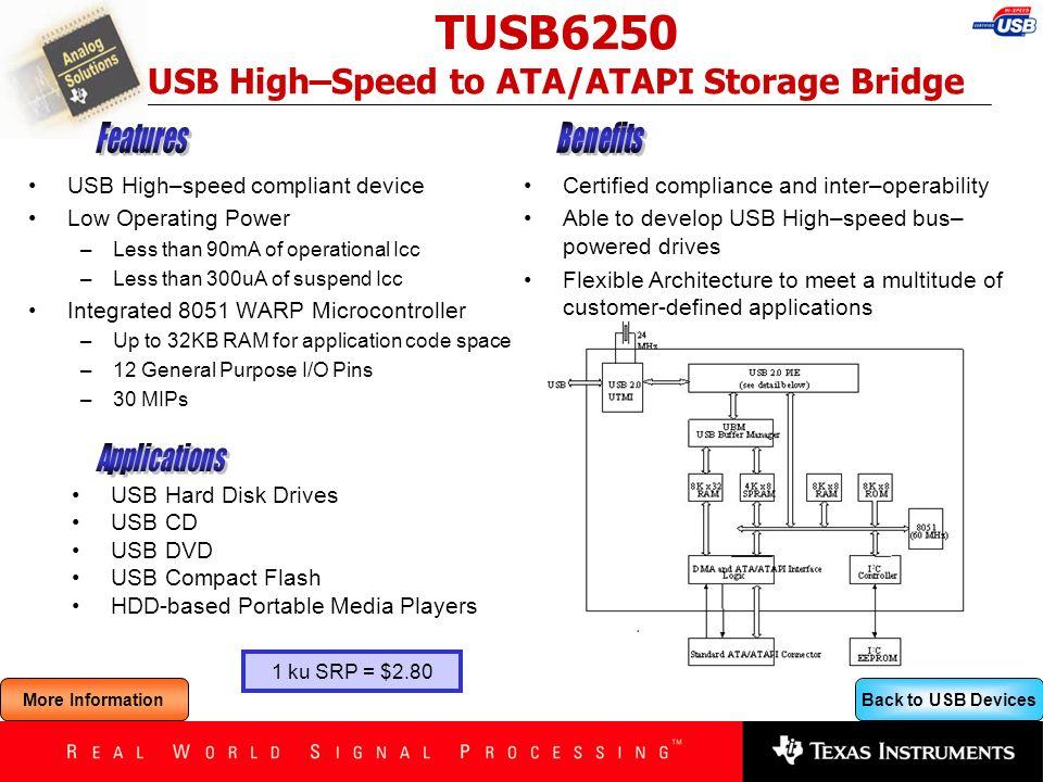 Back to USB Devices TUSB6250 USB High–Speed to ATA/ATAPI Storage Bridge USB High–speed compliant device Low Operating Power –Less than 90mA of operati