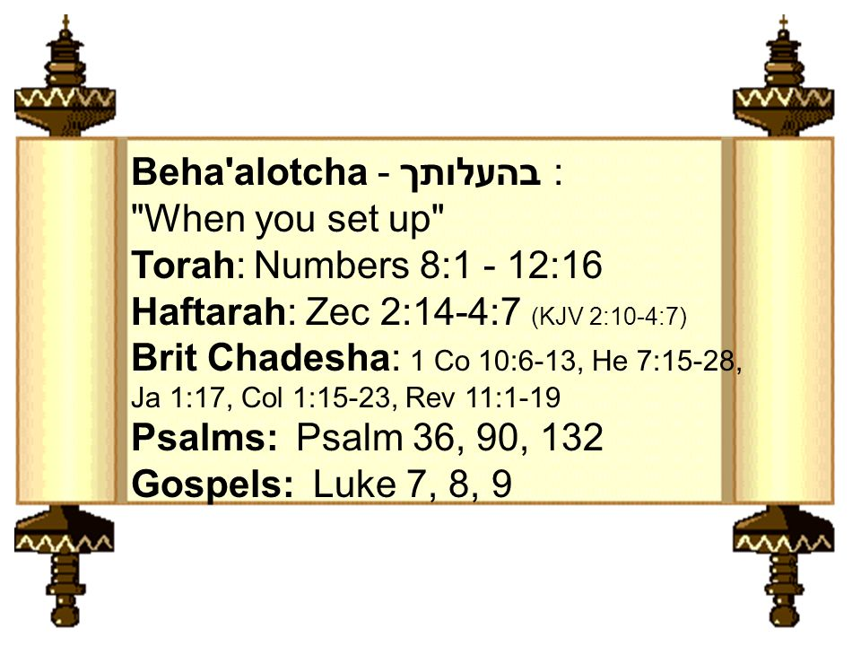Torah: Numbers 8:1 - 12:16 Haftarah: Zec 2:14-4:7 (KJV 2:10-4:7) Brit Chadesha: 1 Co 10:6-13, He 7:15-28, Ja 1:17, Col 1:15-23, Rev 11:1-19 Psalms: Ps