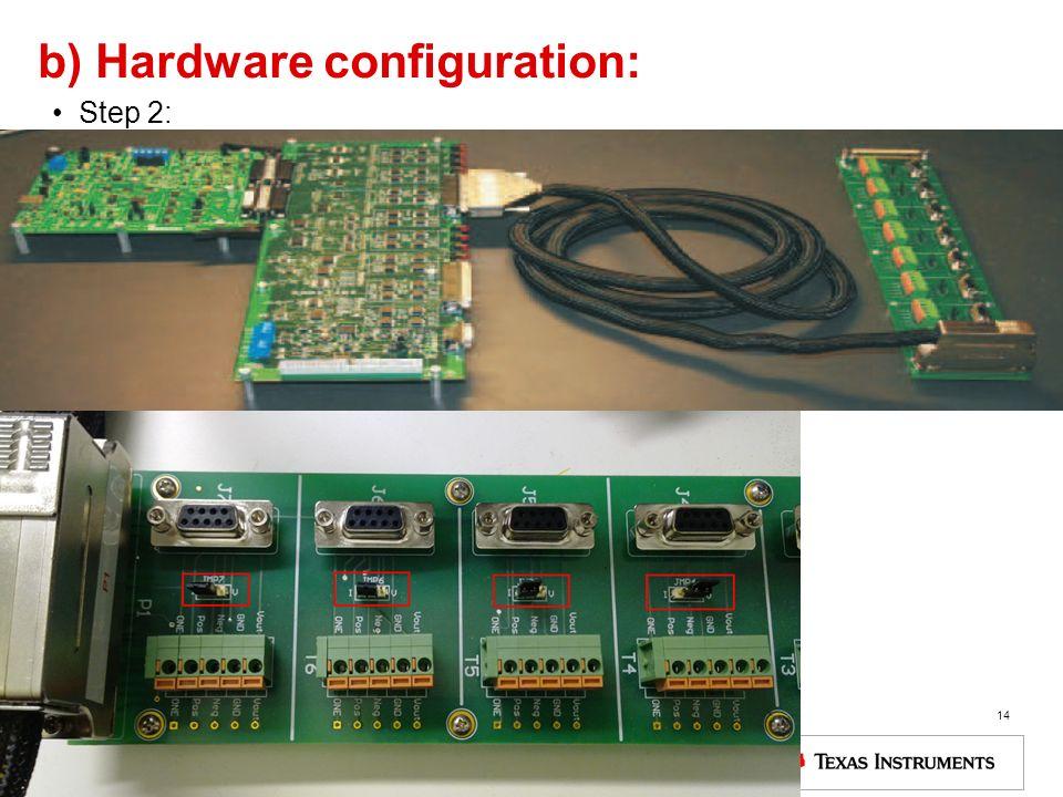 b) Hardware configuration: Step 2: 14