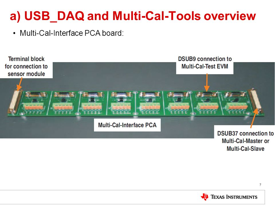 a) USB_DAQ and Multi-Cal-Tools overview Multi-Cal-Interface PCA board: 7