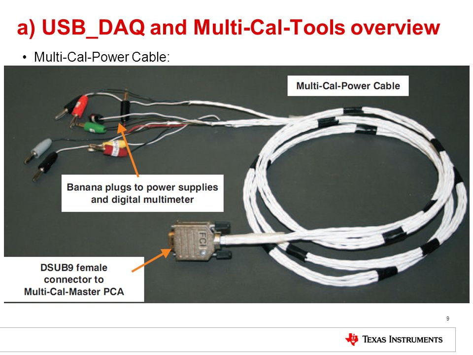 a) USB_DAQ and Multi-Cal-Tools overview Multi-Cal-Power Cable: 9