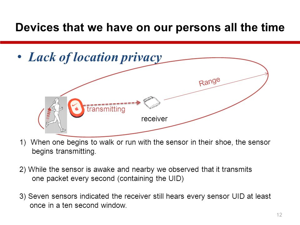 Devices that we have on our persons all the time 12 Lack of location privacy receiver Range 1)When one begins to walk or run with the sensor in their shoe, the sensor begins transmitting.