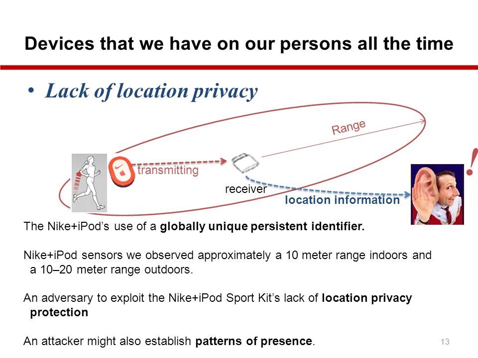 Devices that we have on our persons all the time 13 Lack of location privacy The Nike+iPods use of a globally unique persistent identifier.