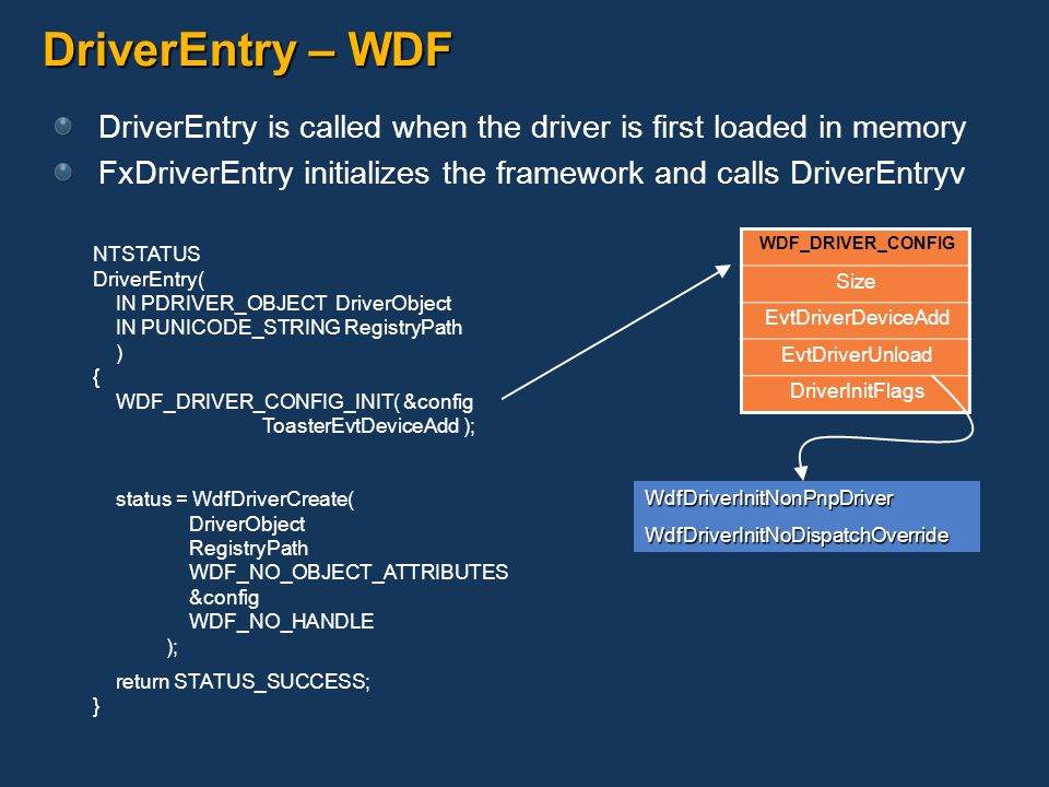 DriverEntry – WDF DriverEntry is called when the driver is first loaded in memory FxDriverEntry initializes the framework and calls DriverEntryv NTSTA