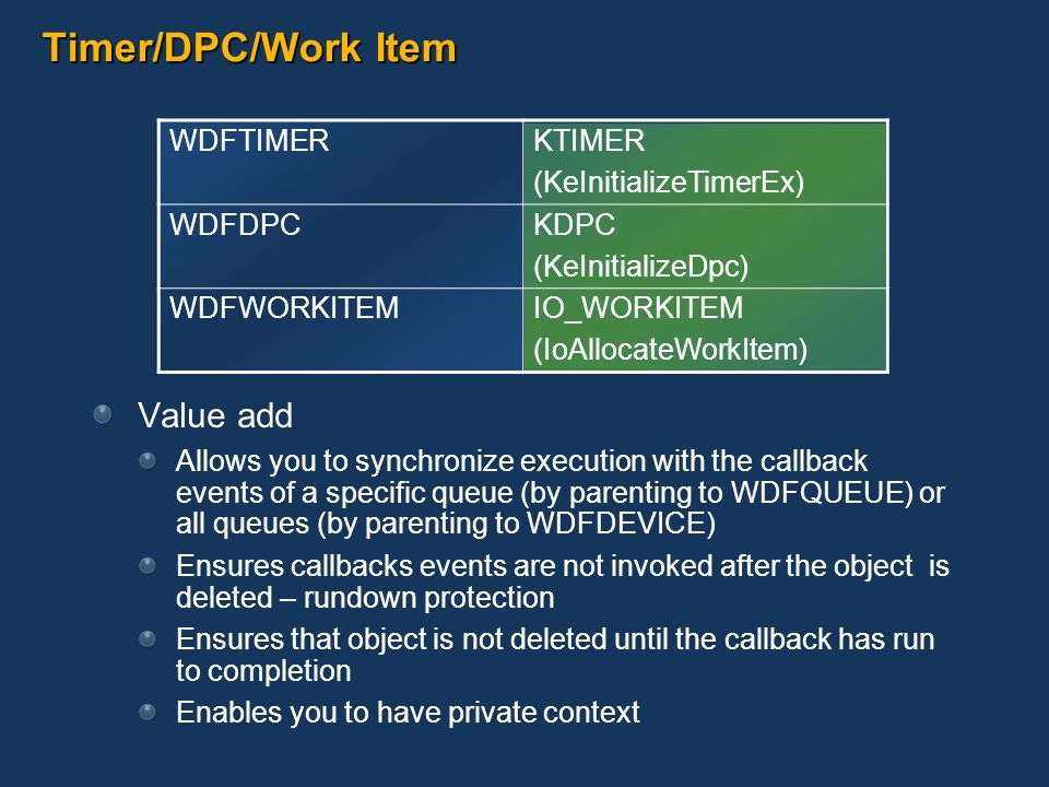 Timer/DPC/Work Item Value add Allows you to synchronize execution with the callback events of a specific queue (by parenting to WDFQUEUE) or all queue