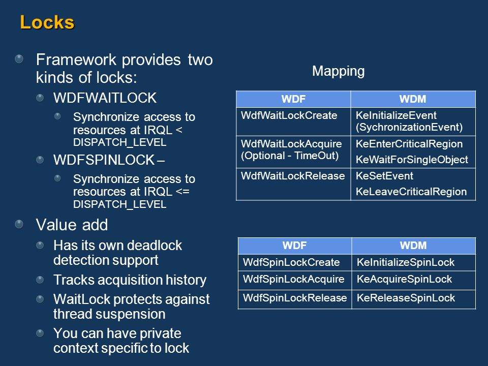 Locks Framework provides two kinds of locks: WDFWAITLOCK Synchronize access to resources at IRQL < DISPATCH_LEVEL WDFSPINLOCK – Synchronize access to