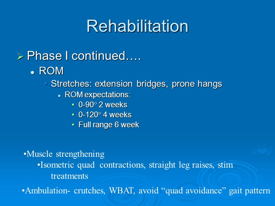 Rehabilitation Phase I continued…. Phase I continued…. ROM ROM Stretches: extension bridges, prone hangsStretches: extension bridges, prone hangs ROM