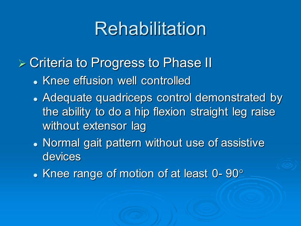 Rehabilitation Criteria to Progress to Phase II Criteria to Progress to Phase II Knee effusion well controlled Knee effusion well controlled Adequate
