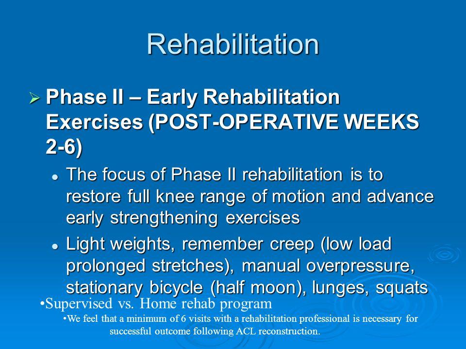 Rehabilitation Phase II – Early Rehabilitation Exercises (POST-OPERATIVE WEEKS 2-6) Phase II – Early Rehabilitation Exercises (POST-OPERATIVE WEEKS 2-