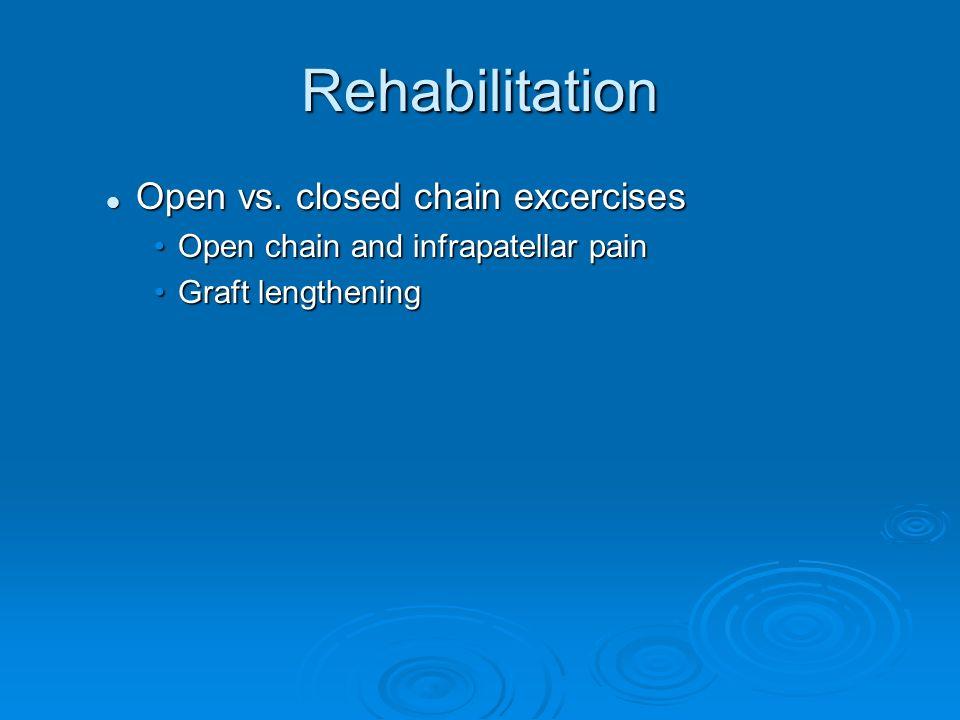 Rehabilitation Open vs. closed chain excercises Open vs. closed chain excercises Open chain and infrapatellar painOpen chain and infrapatellar pain Gr