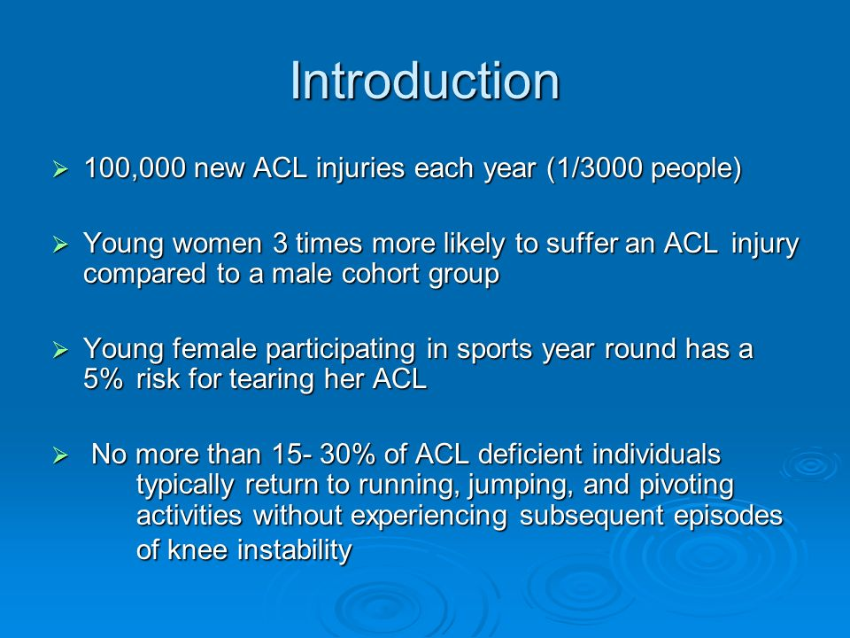ACL Defficiency and Return to Play 832 ACL injuries 10% declined, 40% other knee injuries 432 Remaining patients 87 unable to regain ROM, strength, pain control 345 patients Screening exam eliminates 199 as Non-copers 146 patients 60% chose to undergo surgery 88 patients attempt return to sport