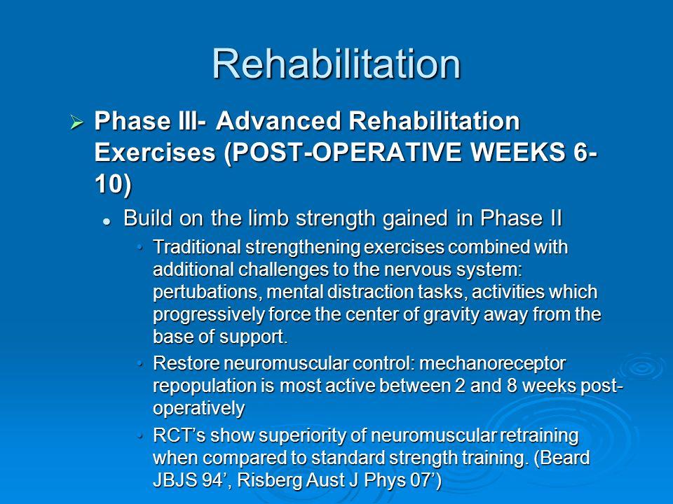 Rehabilitation Phase III- Advanced Rehabilitation Exercises (POST-OPERATIVE WEEKS 6- 10) Phase III- Advanced Rehabilitation Exercises (POST-OPERATIVE