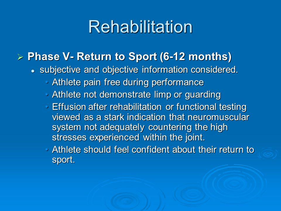 Rehabilitation Phase V- Return to Sport (6-12 months) Phase V- Return to Sport (6-12 months) subjective and objective information considered. subjecti