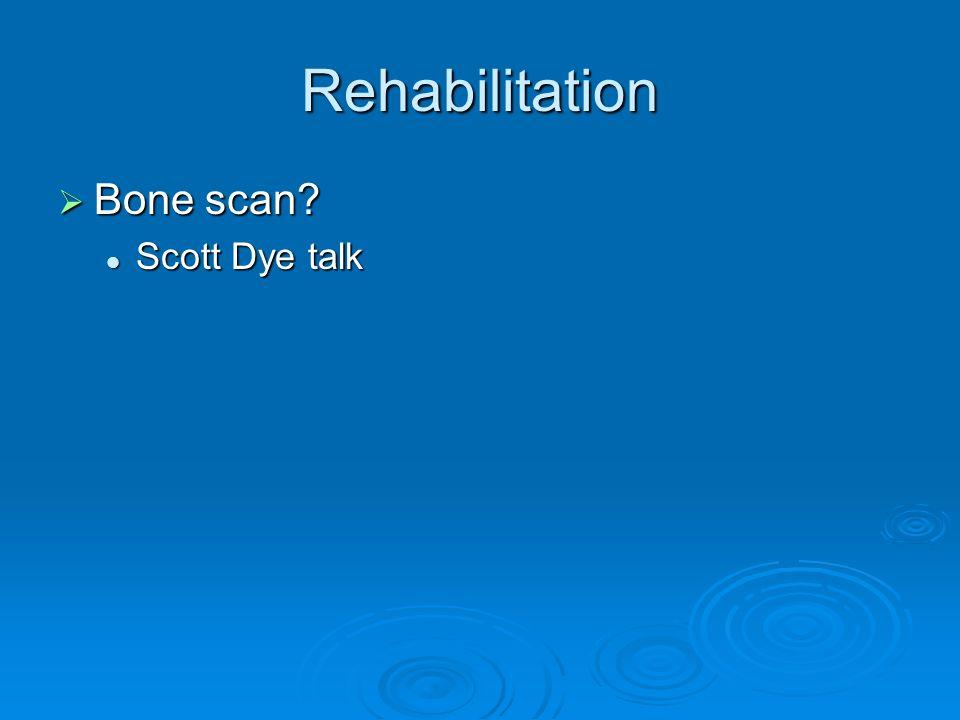 Rehabilitation Bone scan? Bone scan? Scott Dye talk Scott Dye talk