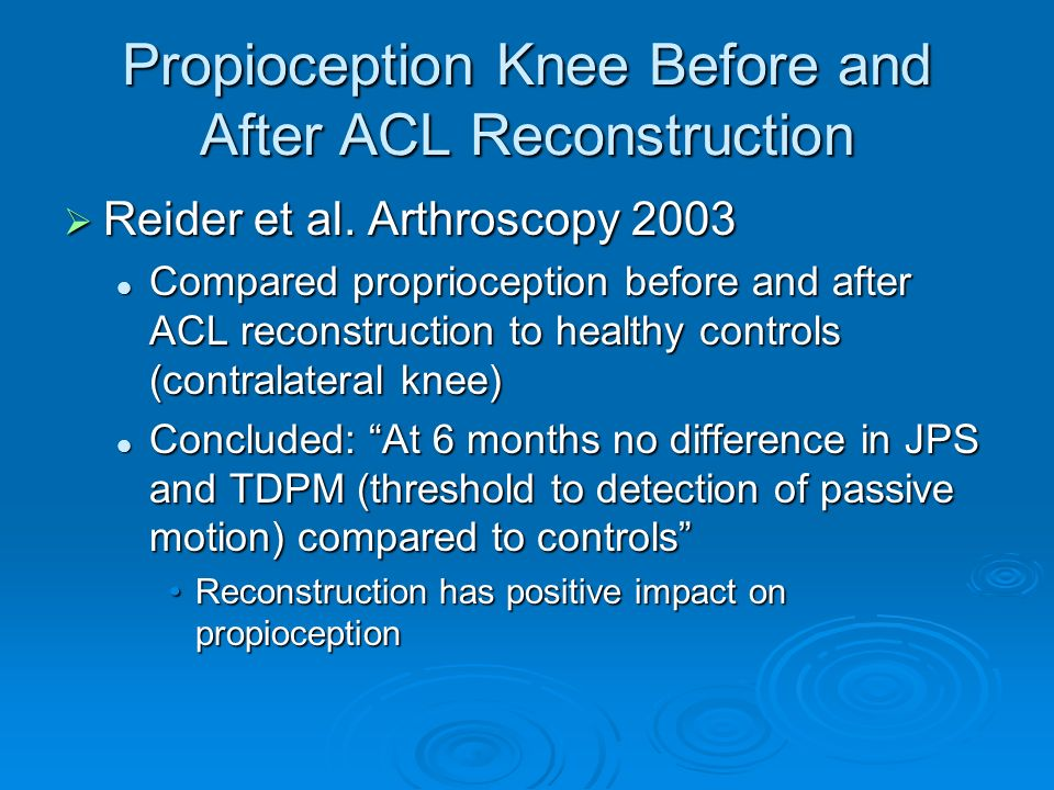 Propioception Knee Before and After ACL Reconstruction Reider et al. Arthroscopy 2003 Reider et al. Arthroscopy 2003 Compared proprioception before an