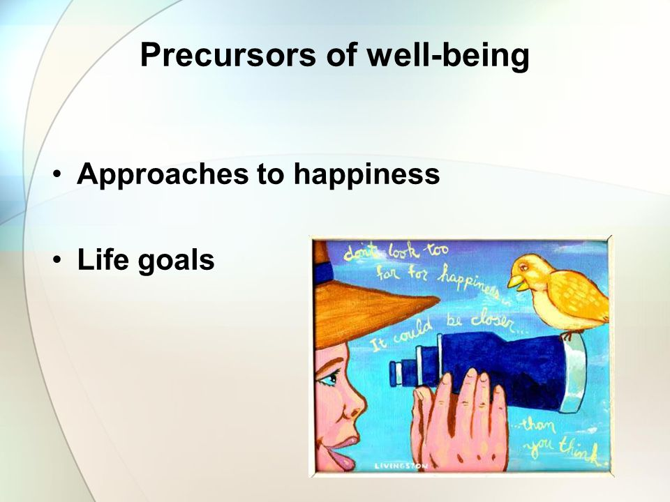 Precursors of well-being Approaches to happiness Life goals
