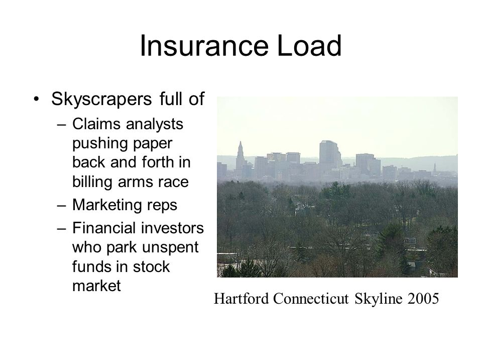 Insurance Load Skyscrapers full of –Claims analysts pushing paper back and forth in billing arms race –Marketing reps –Financial investors who park unspent funds in stock market Hartford Connecticut Skyline 2005