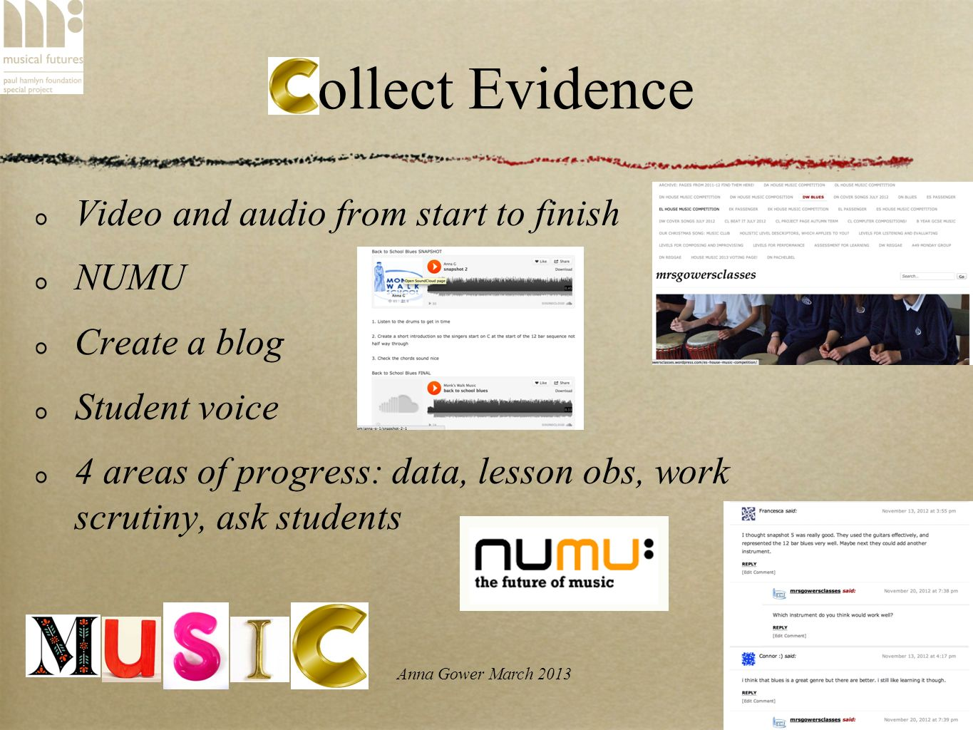 Anna Gower March 2013 Collect Evidence Video and audio from start to finish NUMU Create a blog Student voice 4 areas of progress: data, lesson obs, wo