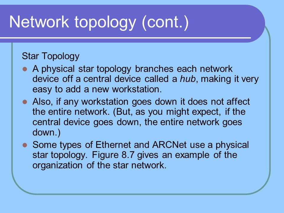 Network topology (cont.) Star Topology A physical star topology branches each network device off a central device called a hub, making it very easy to