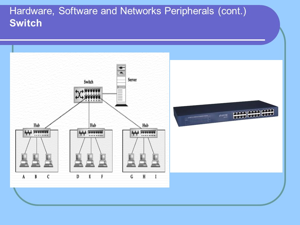 Hardware, Software and Networks Peripherals (cont.) Switch