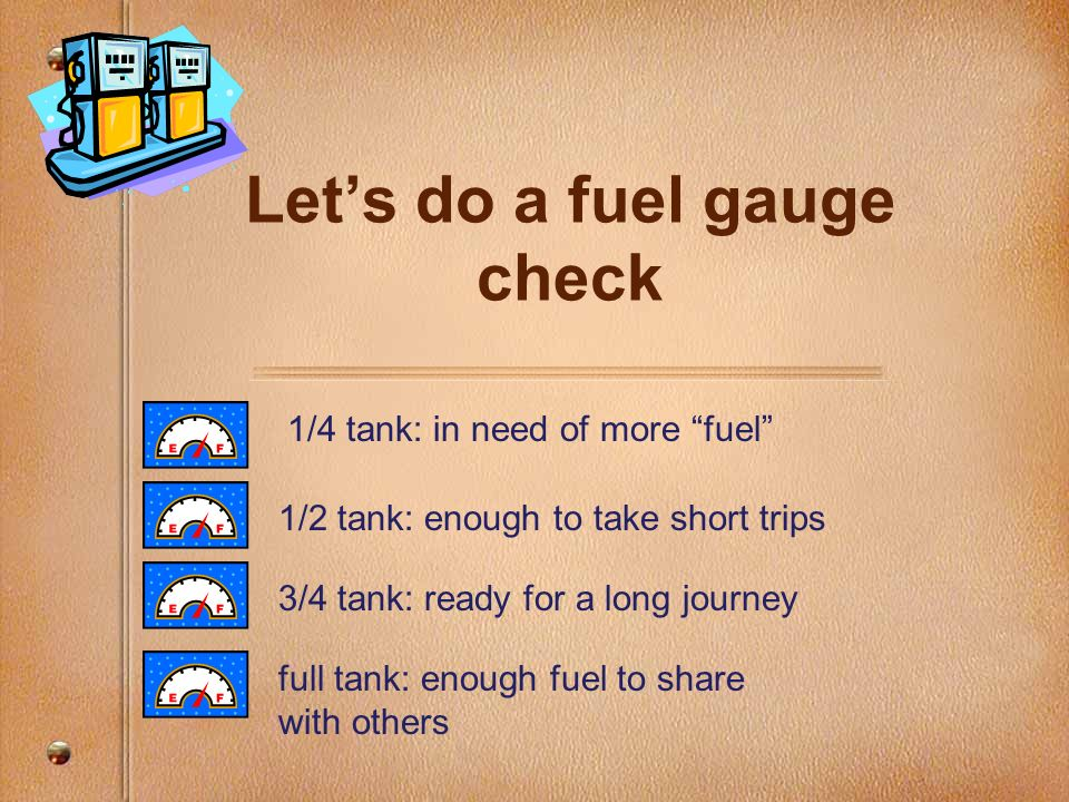 Lets do a fuel gauge check 1/4 tank: in need of more fuel 1/2 tank: enough to take short trips 3/4 tank: ready for a long journey full tank: enough fu