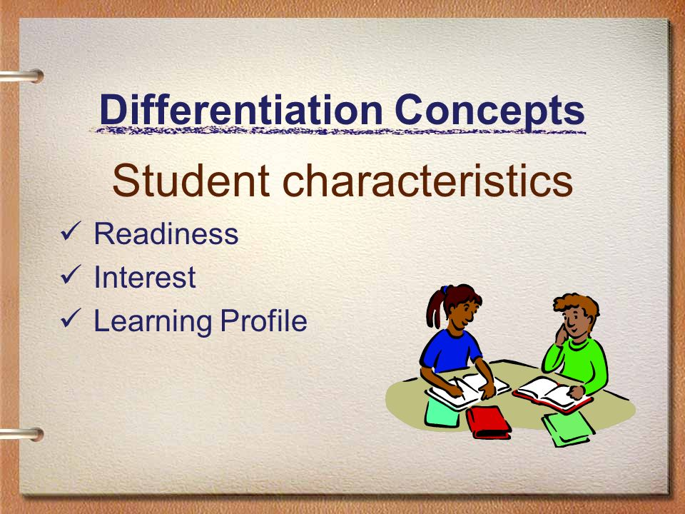 Differentiation Concepts Student characteristics Readiness Interest Learning Profile