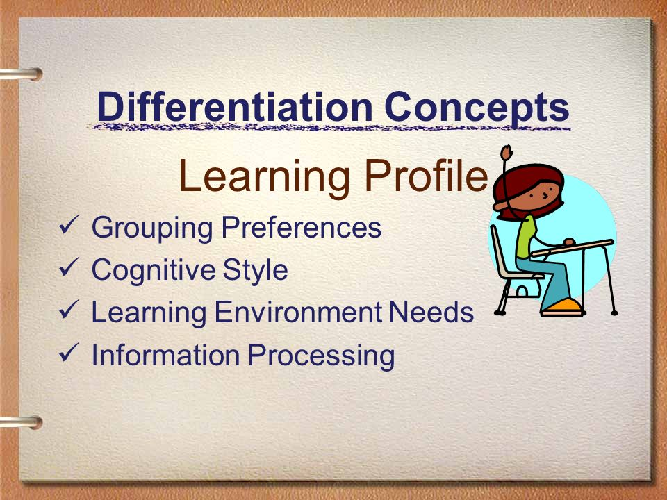 Differentiation Concepts Learning Profile Grouping Preferences Cognitive Style Learning Environment Needs Information Processing
