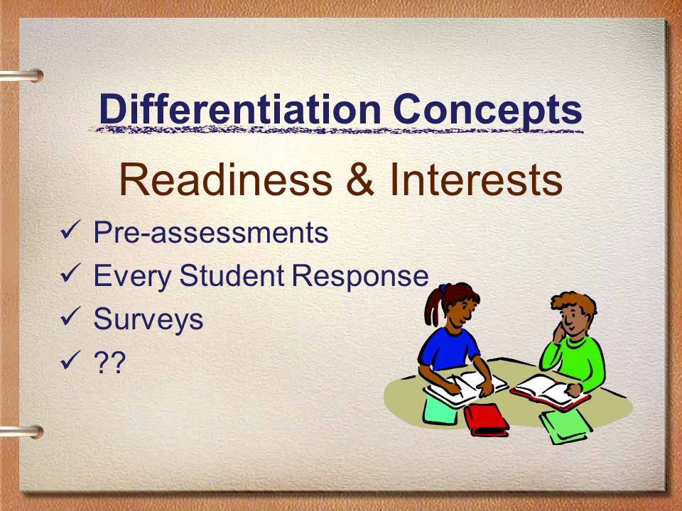 Differentiation Concepts Readiness & Interests Pre-assessments Every Student Response Surveys ??