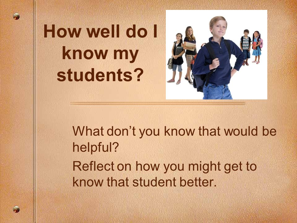 How well do I know my students? What dont you know that would be helpful? Reflect on how you might get to know that student better.