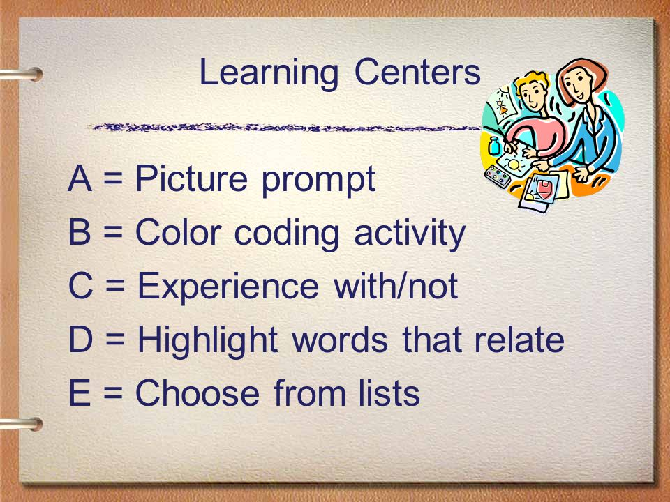 Learning Centers A = Picture prompt B = Color coding activity C = Experience with/not D = Highlight words that relate E = Choose from lists