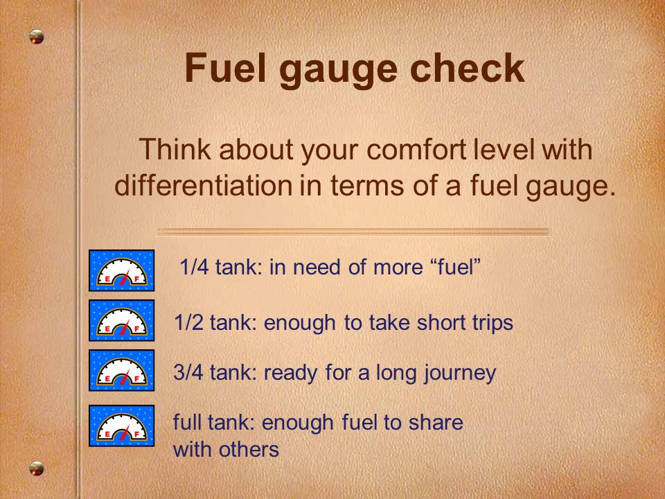 Fuel gauge check Think about your comfort level with differentiation in terms of a fuel gauge. 1/4 tank: in need of more fuel 1/2 tank: enough to take
