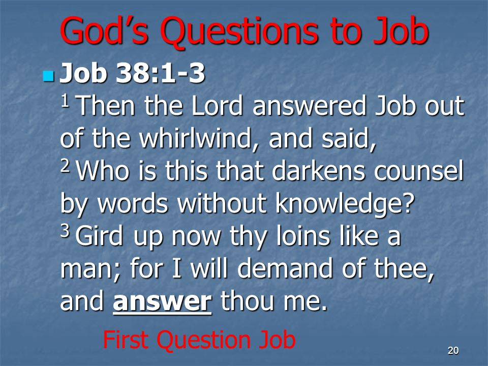 Gods Questions to Job Job 38:1-3 1 Then the Lord answered Job out of the whirlwind, and said, 2 Who is this that darkens counsel by words without know