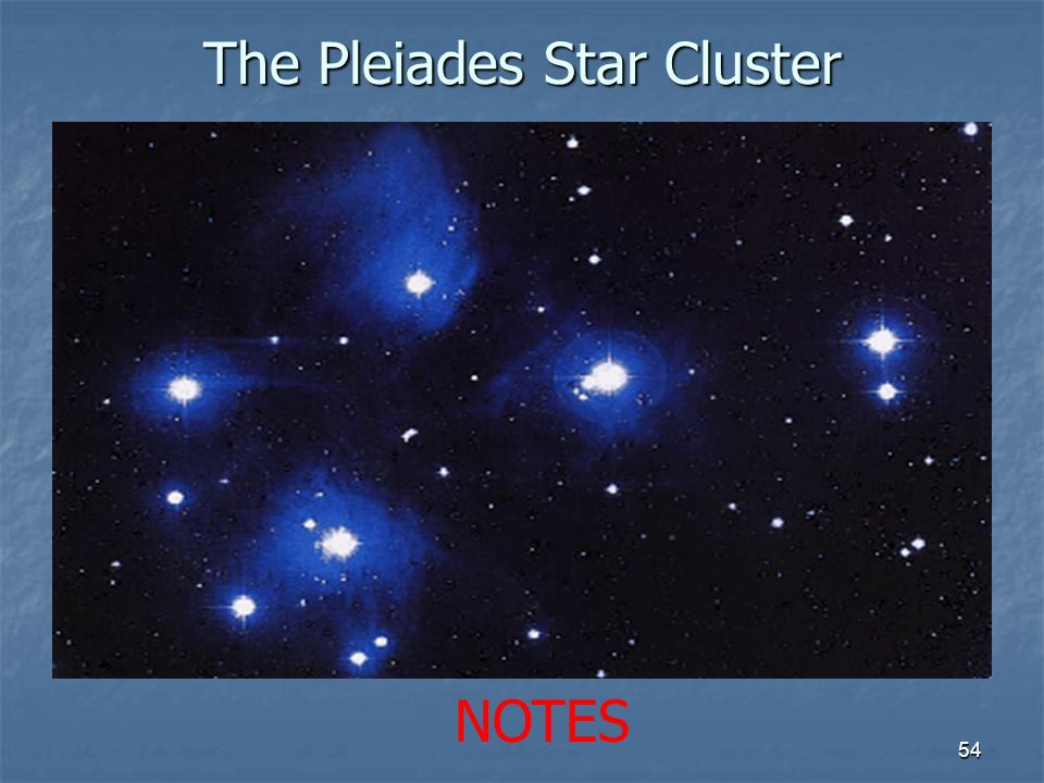 The Pleiades Star Cluster 54 NOTES