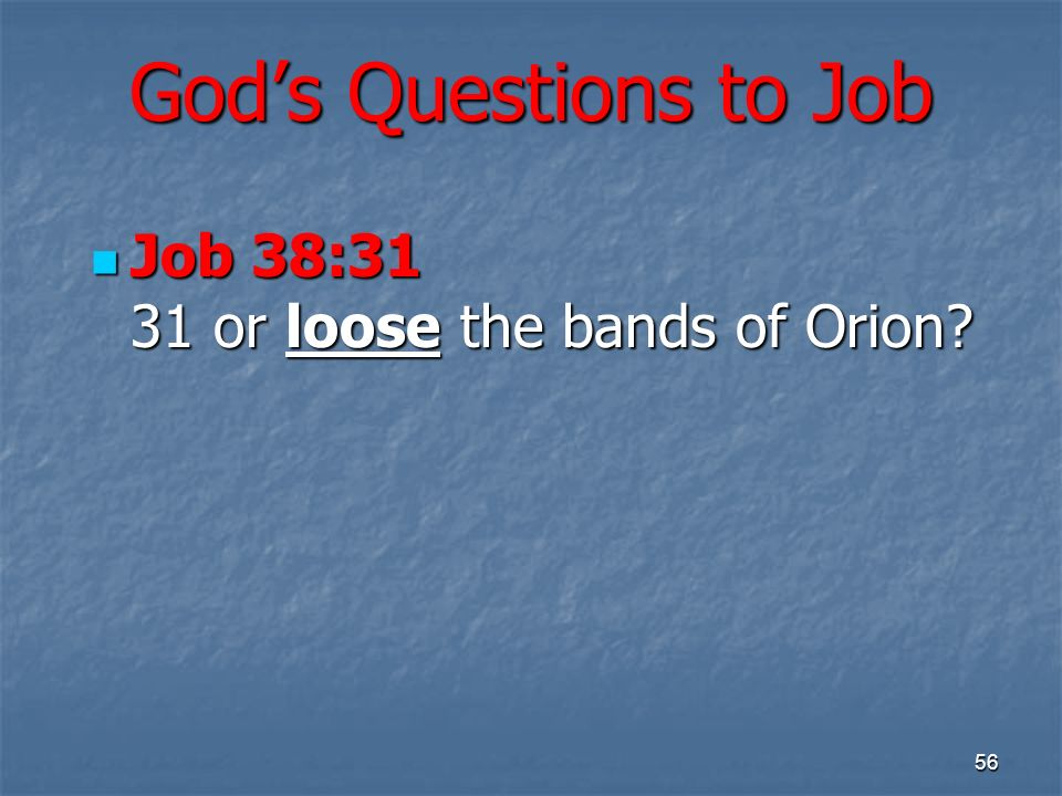 Gods Questions to Job Job 38:31 31 or loose the bands of Orion? Job 38:31 31 or loose the bands of Orion? 56