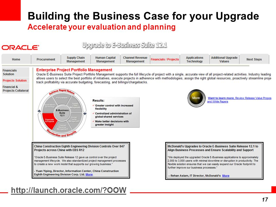 17 Building the Business Case for your Upgrade Accelerate your evaluation and planning http://launch.oracle.com/?OOW