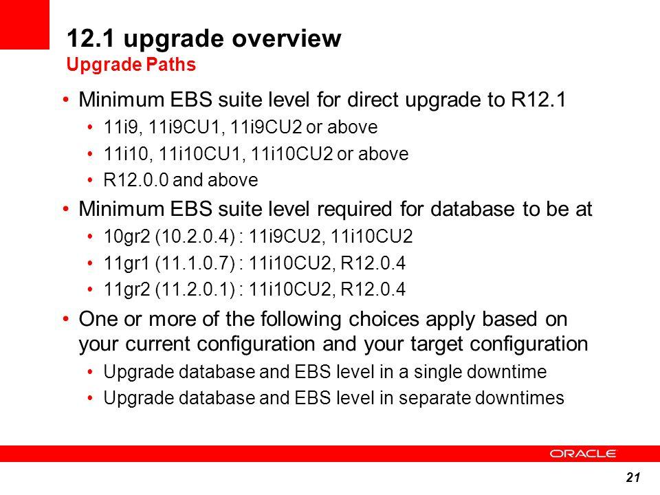 21 12.1 upgrade overview Upgrade Paths Minimum EBS suite level for direct upgrade to R12.1 11i9, 11i9CU1, 11i9CU2 or above 11i10, 11i10CU1, 11i10CU2 o