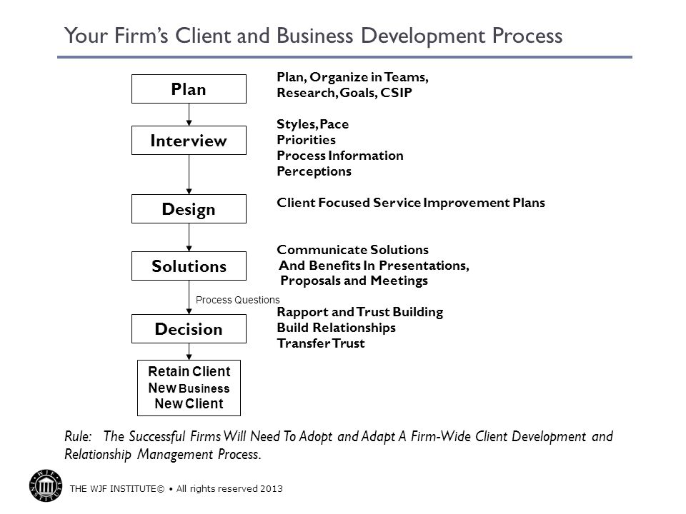 THE WJF INSTITUTE© All rights reserved 2013 Your Firms Client and Business Development Process Plan, Organize in Teams, Research, Goals, CSIP Styles,