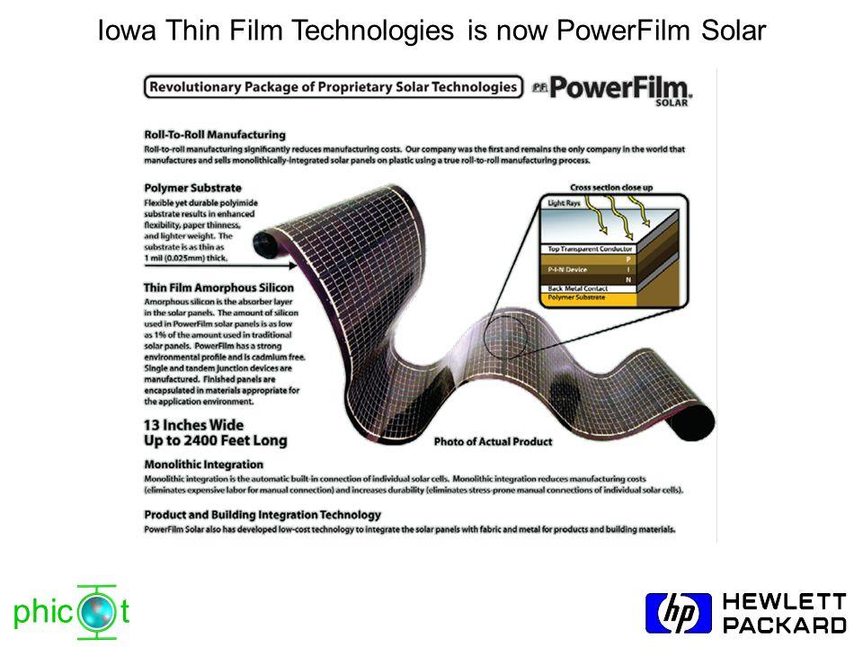 phic t Iowa Thin Film Technologies is now PowerFilm Solar