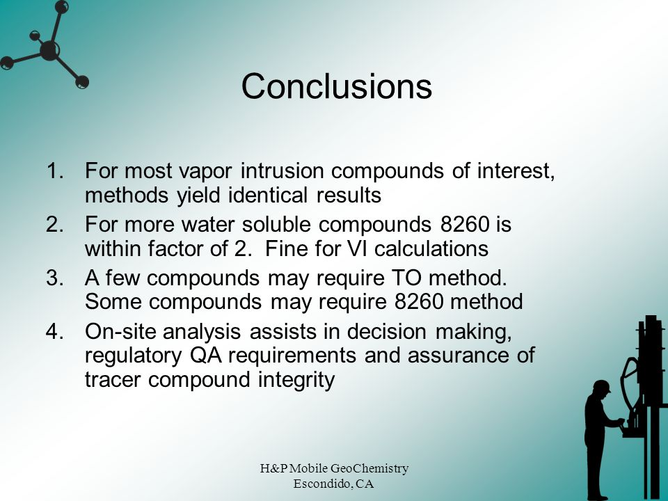 H&P Mobile GeoChemistry Escondido, CA Conclusions 1.For most vapor intrusion compounds of interest, methods yield identical results 2.For more water s