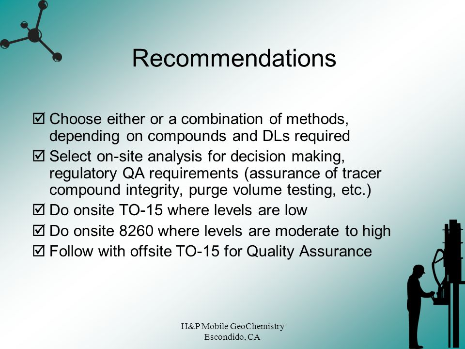 H&P Mobile GeoChemistry Escondido, CA Recommendations Choose either or a combination of methods, depending on compounds and DLs required Select on-sit