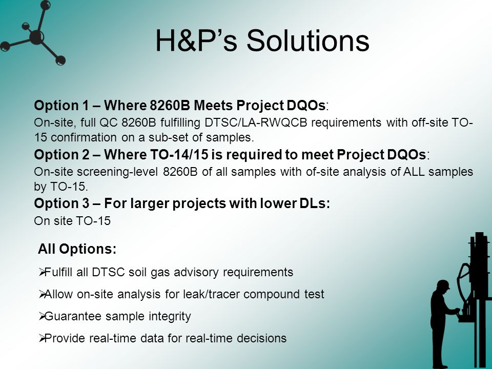 H&Ps Solutions Option 1 – Where 8260B Meets Project DQOs: On-site, full QC 8260B fulfilling DTSC/LA-RWQCB requirements with off-site TO- 15 confirmati
